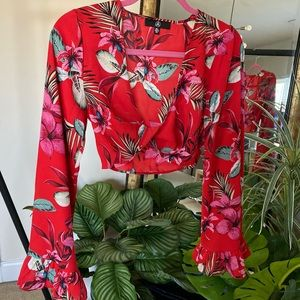 Missguided Red Tropical Print Twist Front Crop Top